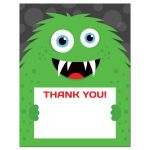 Monster thank you cards with cute, green monster
