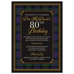 Scottish MacDonald tartan 80th birthday invitation front