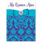 ​Purple, teal blue and white Mis Quince Años or Quinceañera 15th birthday invitation with princess tiara, crystal jewels, ribbon and bow.