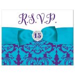 ​Purple, teal blue and white Mis Quince Años or Quinceañera 15th birthday rsvp response reply card with princess tiara, crystal jewels, ribbon and bow.