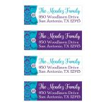 "Personalized ​1""x3"" return address mailing labels in teal blue, purple, and white damask pattern for a Quinceanera or birthday party."