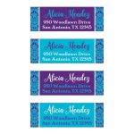 "​Personalized 1""x3"" Quinceanera return address mailing labels in teal blue, purple, and white damask pattern for a Quinceanera or birthday party."