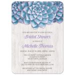 Bridal Shower Invitations - Blue Purple Succulent Whitewashed Wood