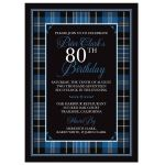 Scottish clan Clark tartan 80th birthday invitation front