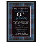 Scottish clan Anderson tartan 80th birthday invitation front