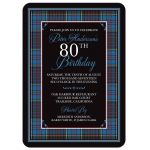 Scottish clan Anderson tartan 80th birthday invitation front