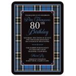 Scottish clan Thompson or Thomson tartan 80th birthday invitation front