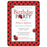 Birthday Party Invitations - Ladybug Red and Black Polka Dot
