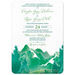 Shades of green watercolor painting style mountain wedding invitation