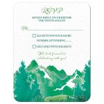 Shades of green watercolor painting style mountain wedding RSVP card front