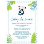 Tropical Panda Boy Baby Shower Invitation