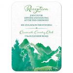 ​Shades of green watercolor painting style mountain wedding reception insert card front