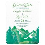 Shades of green watercolor painting style mountain wedding save the date announcement front