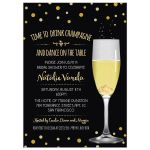 Wedding Rings in Champagne Glass Bridal Shower Invitation | Faux Gold Glitter Look