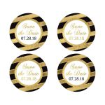 """2"""" round black, white, and simulated gold diagonal striped wedding save the date envelope seals or favor stickers with simulated glitter and customizable wedding date."""