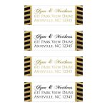 Personalized return address mailing labels with double borders of black and simulated gold diagonal striped pattern with simulated glitter and white text area and customizable gold or black font color wording.