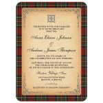 Scottish Royal Stewart tartan Stuart tartan wedding invitation with celtic knot flourish front