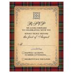 Scottish Royal Stewart tartan (Stuart tartan) RSVP card with celtic knot flourish front