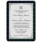 Scottish black watch tartan or campbell tartan wedding invitation with celtic knot flourish front