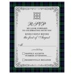 ​Scottish black watch tartan or campbell tartan wedding rsvp card with celtic knot flourish front