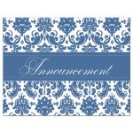 Elegant blue and white damask wedding cancellation card.