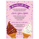 Soft Serve Ice Cream Cones Pink Baby Sprinkle Shower Invitation