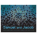 Blue, green, black raining pixels Star of David video game B'nai Mitzvah flat thank you card front