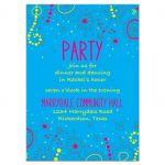 Neon colors glow in the dark style glow party Bat Mitzvah reception card card with doodles front