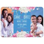 Cheerful cornflower blue and hot pink rose and peony floral photo collage wedding save the date card front