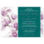 Elegant purple teal Cymbidium orchid wedding invitation landscape front
