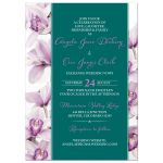 Elegant purple teal Cymbidium orchid wedding invitation portrait front