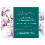 Elegant purple teal orchid wedding reception insert card front