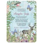 Enchanted forest Bat Mitzvah invitation with deer, butterflies, and bird