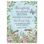 Enchanted forest Bat Mitzvah reception card with birds and butterfly