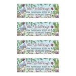 Enchanted forest Bat Mitzvah address labels featuring wildflower woodland florals, berries, leaves, branches, and a butterfly