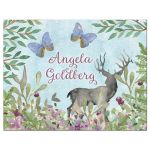 Enchanted forest Bat Mitzvah thank you card with deer, butterflies, and rabbit front
