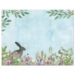 Enchanted forest Bat Mitzvah thank you card with deer, butterflies, and rabbit back
