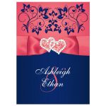 Coral pink, white and navy blue floral wedding invite with joined jewel and glitter hearts buckle, ribbon and ornate scrolls.