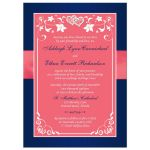 Watermelon pink, white and navy blue floral wedding invite with joined jewel and glitter hearts buckle, ribbon and ornate scrolls.