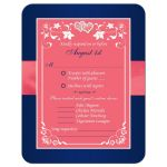 Watermelon pink, white and navy blue floral wedding response enclosure card insert with joined jewel and glitter hearts buckle, ribbon and ornate scrolls.
