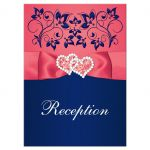 Coral pink, white and navy blue floral wedding reception enclosure card insert with joined jewel and glitter hearts buckle, ribbon and ornate scrolls.