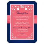 Watermelon pink, white and navy blue floral wedding reception enclosure card insert with joined jewel and glitter hearts buckle, ribbon and ornate scrolls.
