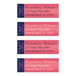 Personalized return address mailing labels in navy blue, coral pink, and white floral.