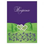 Purple and lime green wedding RSVP enclosure card inserts with flowers, ribbon, bow, jewels, glitter, joined hearts, flourishes and white accents.