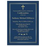 Slate Blue-Gray and Gold Confirmation Invitation with Gold Cross.