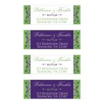 Personalized lime green, white, and purple return address mailing labels with flowers and decorative scroll.