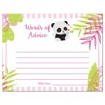 Pink Tropical Panda Baby Shower Advice Cards
