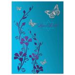 Purple, teal blue and silver floral Bat Mitzvah invitation with silver butterflies, turquoise flowers and a Jewish Star of David and Hebrew name on it.