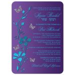 Purple, turquoise blue and silver floral Bat Mitzvah invites with silver butterflies, teal flowers and a Jewish Star of David and Hebrew name on it.