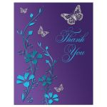 Purple, teal blue and silver floral Bat Mitzvah thank you note card with silver butterflies and purple and turquoise flowers.